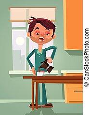 triste, infeliz, cansado, oficinista, hombre, hombre de negocios, carácter, elaboración, y, bebida, mañana, coffee., papá, el lunes por la mañana, plano, caricatura, diseño gráfico, concepto, ilustración