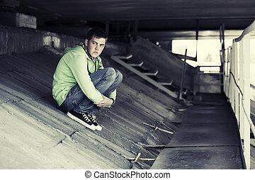 triste, jeune, dépression, homme