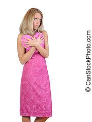 triste, menina, cor-de-rosa