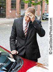 triste, motorista, olhar, bilhete estacionamento, ligado, car