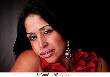 triste, mulher preta, isolado, latim, estúdio, maduras, tiro