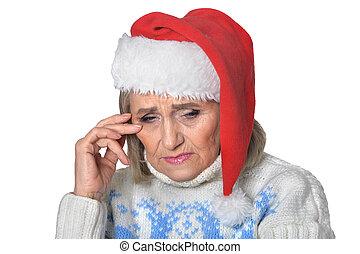 triste, mulher sênior, em, chapéu santa
