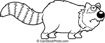 triste, panda, rojo, caricatura