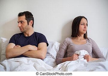 triste, pareja, en, el, cama, deprimido, para, sexual, problema
