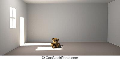 triste, perdido, oso, teddy