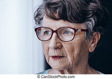 triste, plus vieux, dame