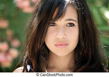 triste, ragazza, asiatico