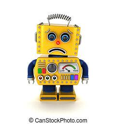 triste, robô brinquedo, sobre, branca
