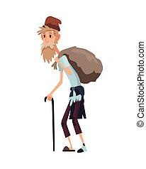 triste, ropa, culito, o, hombres, viejo, vagabundo, help., personas., mendigo, gente, sucio, hombre, mendigar, palo, desempleados, desempleo, necesitar, sin hogar, dinero