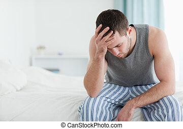 triste, séance homme, sur, sien, lit