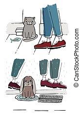 triste, sdf, errant, look., chien, chat, vecteur, animaux familiers, dehors., dessiné, main, illustration.