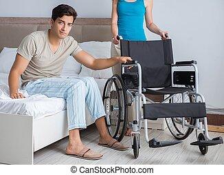 triste, sien, désespéré, fauteuil roulant, homme, épouse