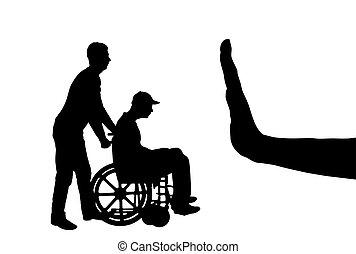 triste, silueta, vector, enfermera, gesto, parada, sílla de ruedas, mano, hombre incapacitado