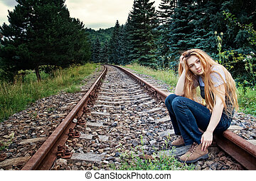 triste, suicida, solitario, donna, su, strada ferrata