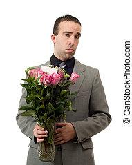 triste, uomo, con, fiori