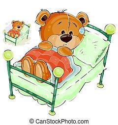 triste, vector, ilustración, oso, señoritas, teddy, cama, ...