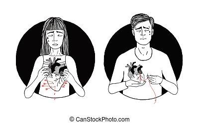 triste, y, sufrimiento, hombre y mujer, pérdida, de, love., corazón roto, concept., mano, dibujado, ilustración