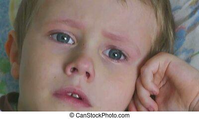 tristesse, couler, pleurer, garçon adolescent, larmes