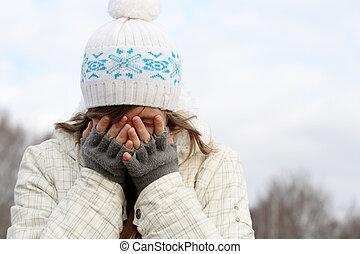tristeza, e, gelado
