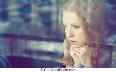tristeza, janela, pensativo, menina, triste