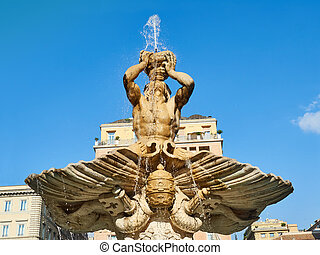 triton, 噴水, 広場, barberini, ローマ, イタリア