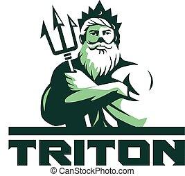 Triton Arms Crossed Trident Front Retro - Illustration of...