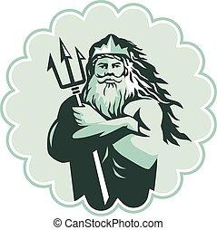 Triton Arms Crossed Trident Rosette - Illustration of triton...