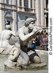 triton, fontana, ローマ, del, moro