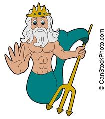 Triton illustration - Greek god cartoon isolated on a white...