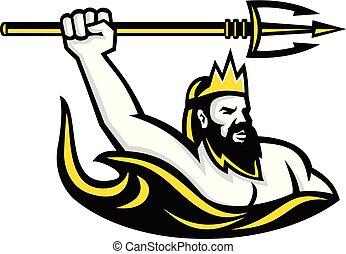 triton-raising-up-trident-side-LOGO - Mascot icon...