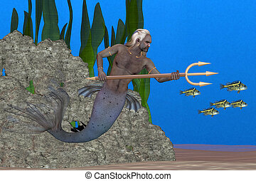 Triton the Sea God - Triton, son of Poseidon, carrying a...