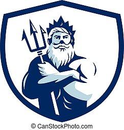 Triton Trident Arms Crossed Crest Retro - Illustration of...