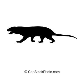 tritylodontydae, silhuett, utdöd, mammalian, djur