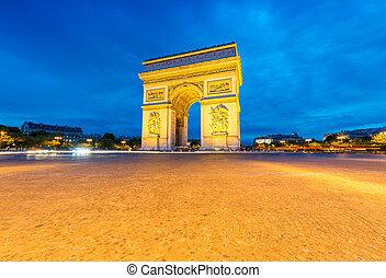 Triumph Arc at night, Paris