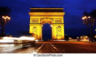 Triumph Arch, Paris. - Time lapse video in Paris Charles De...