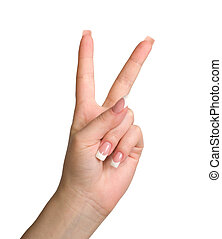 Triumph gesture. - Women's hand shows the gesture of victory...