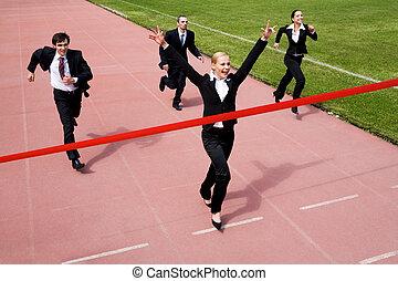 Triumph - Image of joyful businesswoman winning a business...
