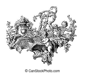 Triumph with flowers and angels - Renaissance ornamental...