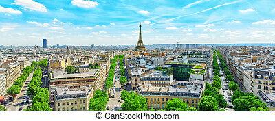 triumphal, パノラマの光景, arch., 屋根, エッフェル, パリ, 美しい, tower.