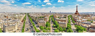 triumphal, パノラマの光景, arch., 屋根, elysees, エッフェル, チャンピオン, パリ, ...