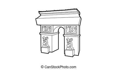 Triumphal arch icon animation best outline object on white background