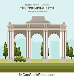 Triumphal arch in Blegium. Architecture Vector cartoon illustrations