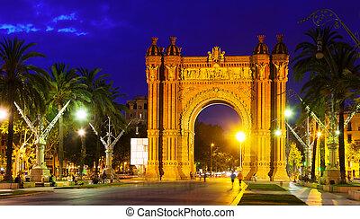 triumphal arch in  night. Barcelona, Spain