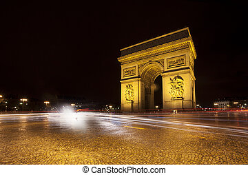 Triumphal Arch in Paris at night