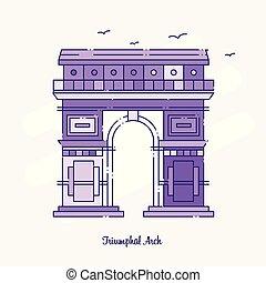TRIUMPHAL ARCH Landmark Purple Dotted Line skyline vector illustration