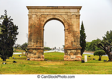 Triumphal arch of Bera in Tarragona, Catalonia, Spain.
