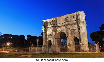 Triumphal Arch of Constantine. Rome, Italy. Time Lapse