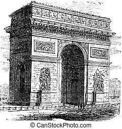Triumphal Arch or Arc de Triomphe, Paris, France. Vintage engraving. Old engraved illustration of Triumphal Arch. It is one of the most famous monuments in Paris.
