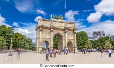 Triumphal Arch timelapse hyperlapse at Tuileries gardens in...