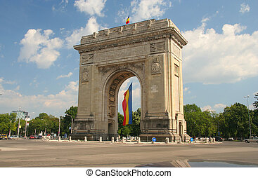 Triumphal Arch with flag - Triumphal monument with national...